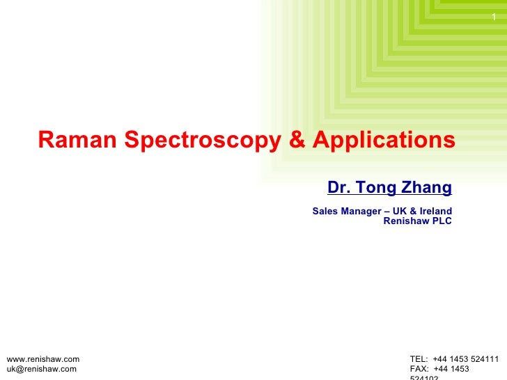 Raman Spectroscopy & Applications Dr. Tong Zhang Sales Manager – UK & Ireland Renishaw PLC