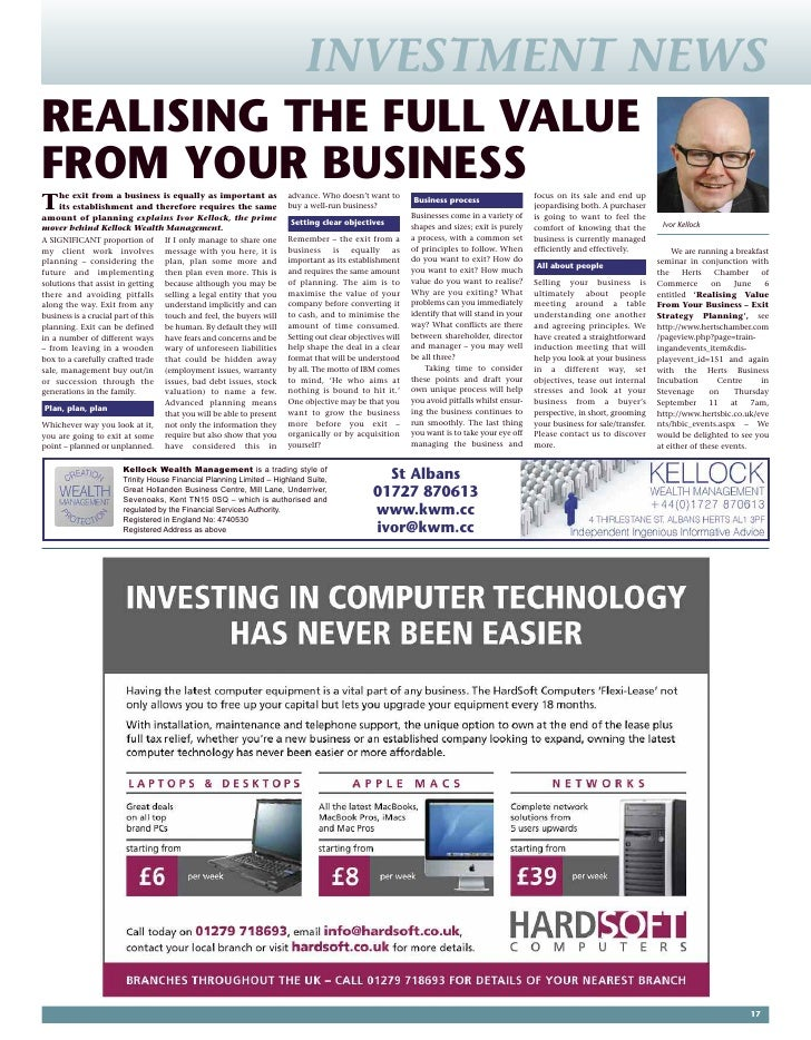 INVESTMENT NEWS REALISING THE FULL VALUE FROM YOUR BUSINESS                                                    advance. Wh...
