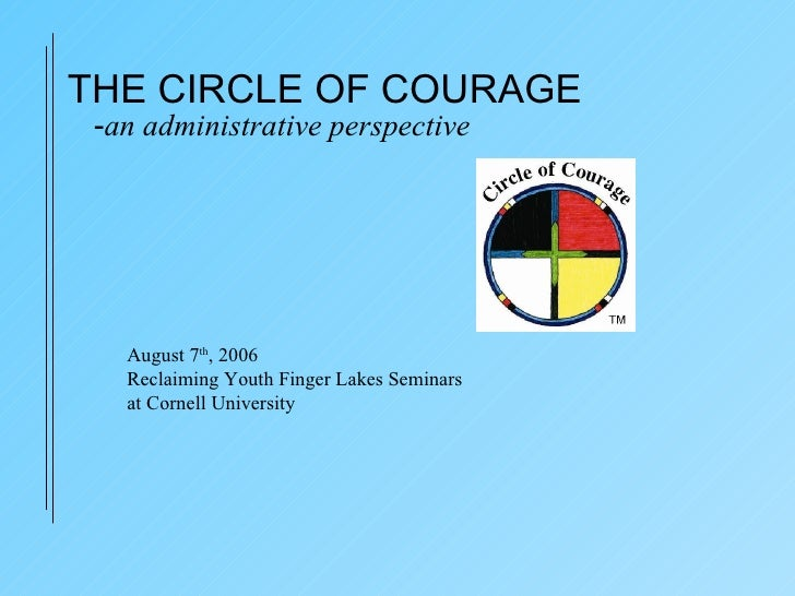 - an administrative perspective August 7 th , 2006 Reclaiming Youth Finger Lakes Seminars at Cornell University THE CIRCLE...