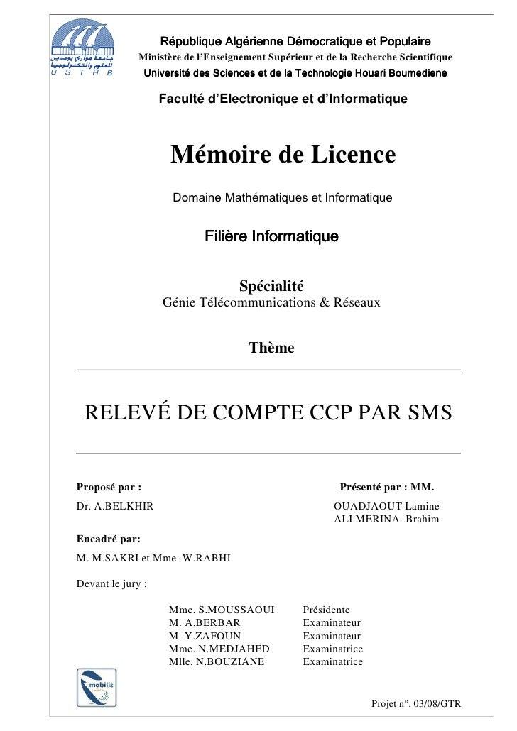 République Algérienne Démocratique et Populaire               Ministère de l'Enseignement Supérieur et de la Recherche Sci...
