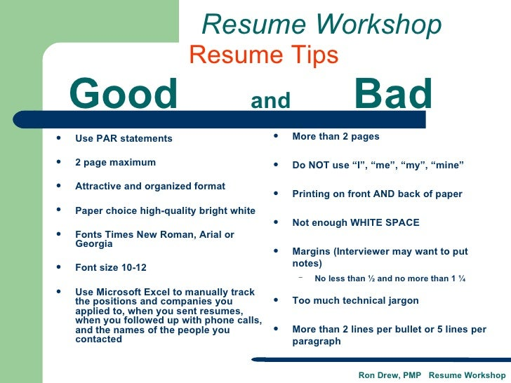 ... Workshop; 26. Good And Bad ...  Example Of Bad Resume