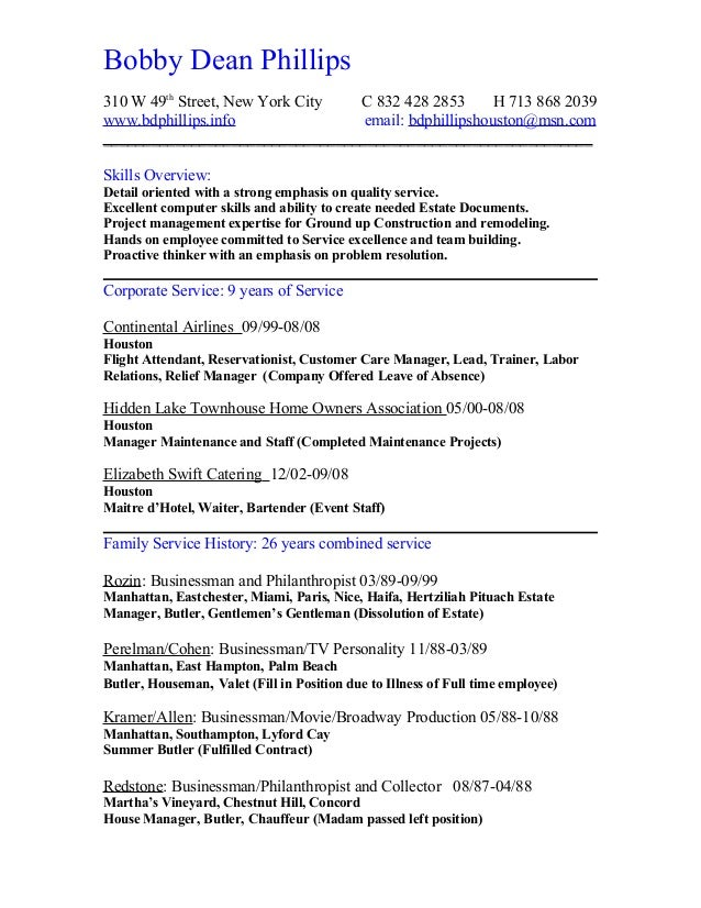 resume chronological short complete
