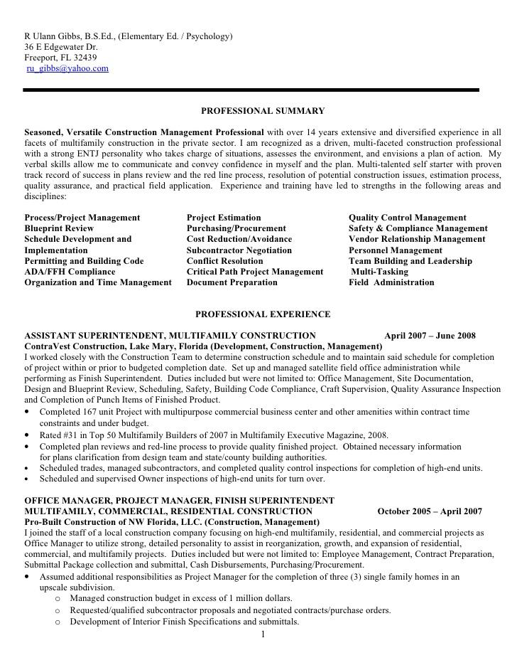 Resume For R Ulann Gibbs Construction Mgt 09 F No Phone Nos