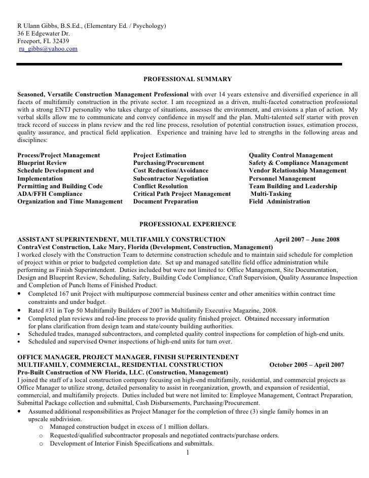 Resume For R. Ulann Gibbs Construction Mgt 09 F No Phone Nos