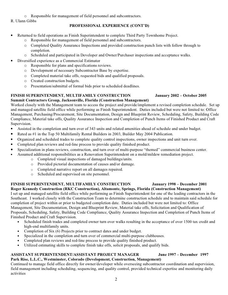 Resume for r ulann gibbs construction mgt 09 f no phone nos - Qualified family office professional ...