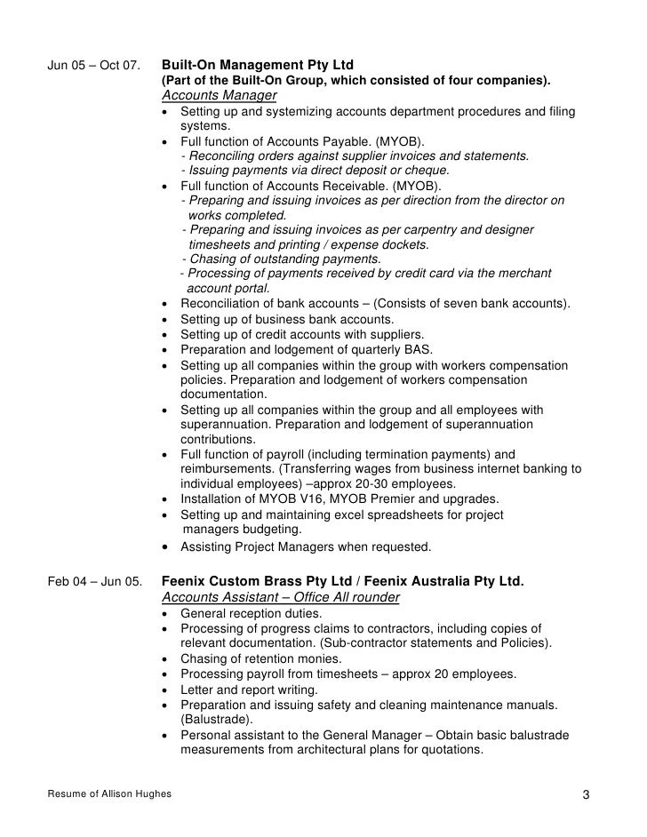 Resume Of Allison Hughes