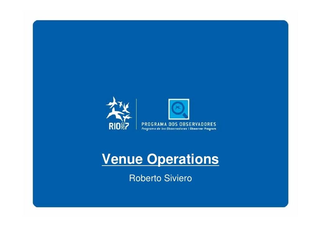 Venue Operations    Roberto Siviero
