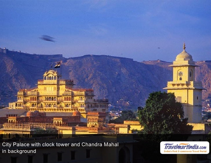 City Palace with clock tower and Chandra Mahal in background