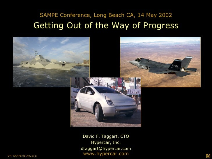 David F. Taggart, CTO Hypercar, Inc. [email_address] www.hypercar.com SAMPE Conference, Long Beach CA, 14 May 2002 Getting...