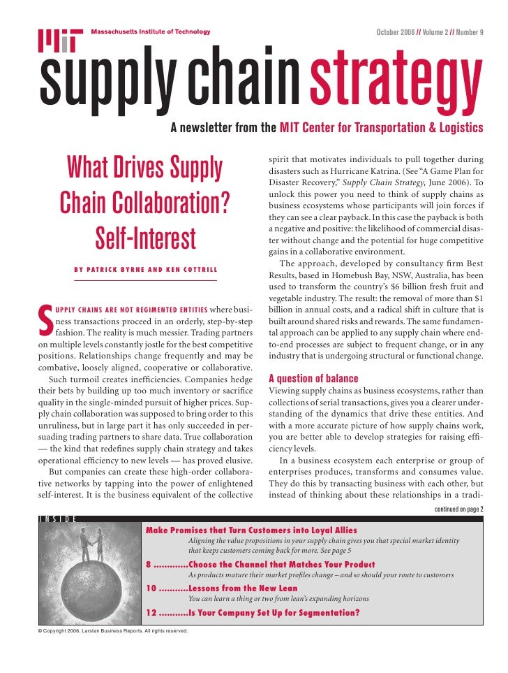 October 2006 // Volume 2 // Number 9     supplychainstrategy                                     A newsletter from the MIT...