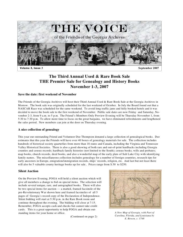The Voice                               of the Friends of the Georgia Archives      Volume 3, Issue 3                     ...