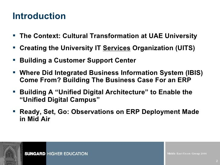 SMEUG 2006 - Project IBIS: ERP at UAE University
