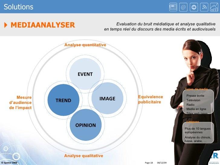    MEDIAANALYSER Solutions Evaluation du bruit médiatique et analyse qualitative en temps réel du discours des media écri...