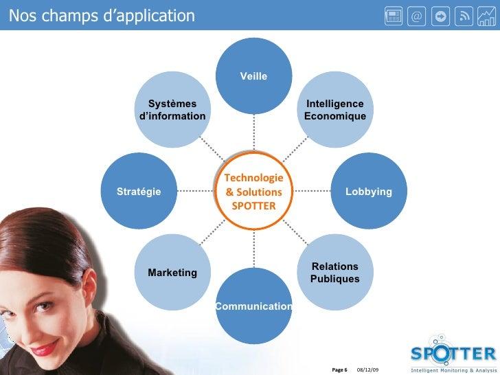 Page  Nos champs d'application Systèmes d'information Stratégie Marketing Communication Relations Publiques Lobbying Intel...