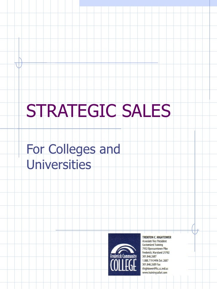 STRATEGIC SALES For Colleges and Universities