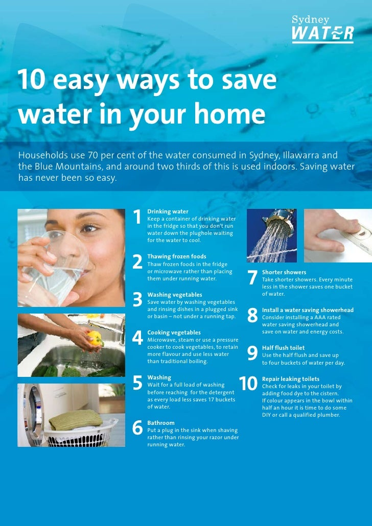 Sydney water saving water had never been so easy for Top 10 ways to conserve water