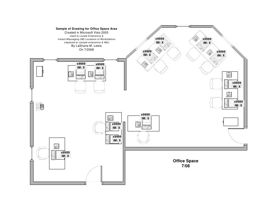 Sample Of Drawing For Office Space Area Created In Microsoft Visio 2003  Used To Locate Extensions