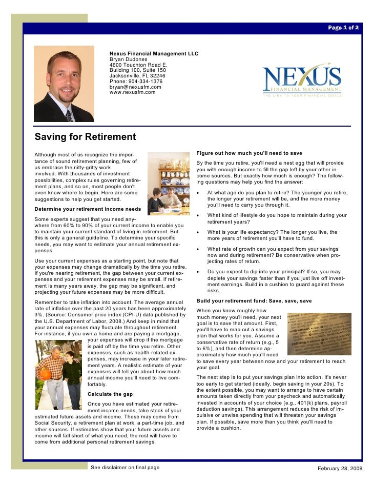 Page 1 of 2                                    Nexus Financial Management LLC                                 Bryan Dudone...