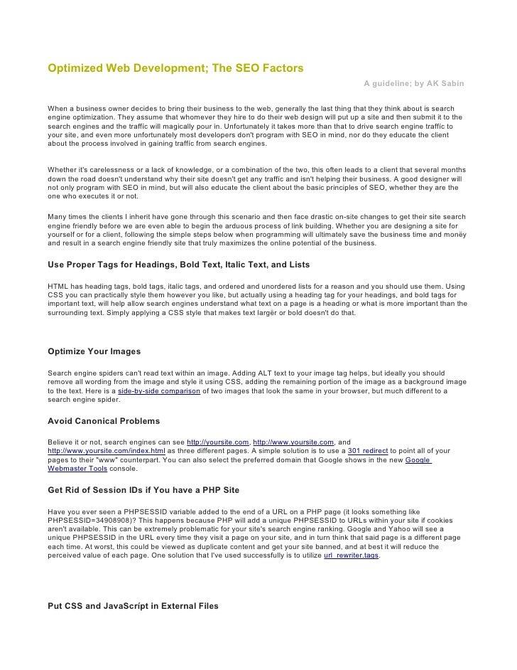 Optimized Web Development; The SEO Factors                                                                                ...