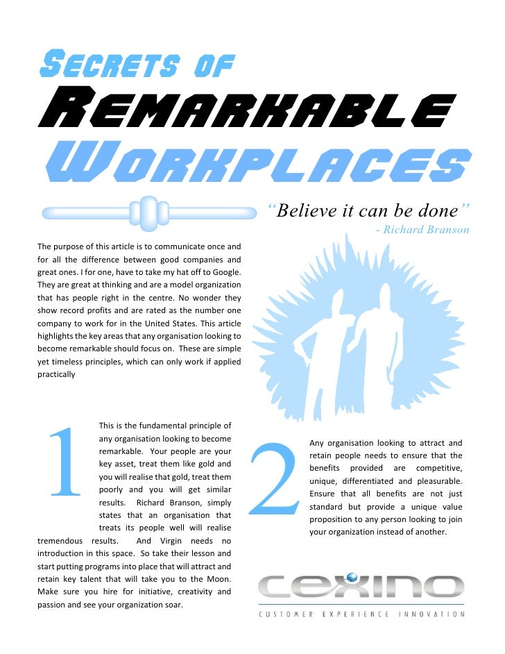 "Secrets of Remarkable Workplaces                                                             ""Believe it can be done""     ..."