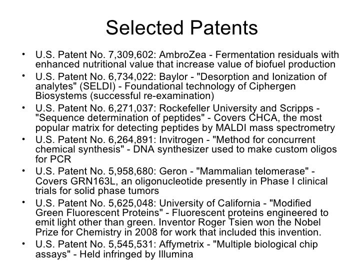 Selected Patents <ul><li>U.S. Patent No. 7,309,602: AmbroZea - Fermentation residuals with enhanced nutritional value that...
