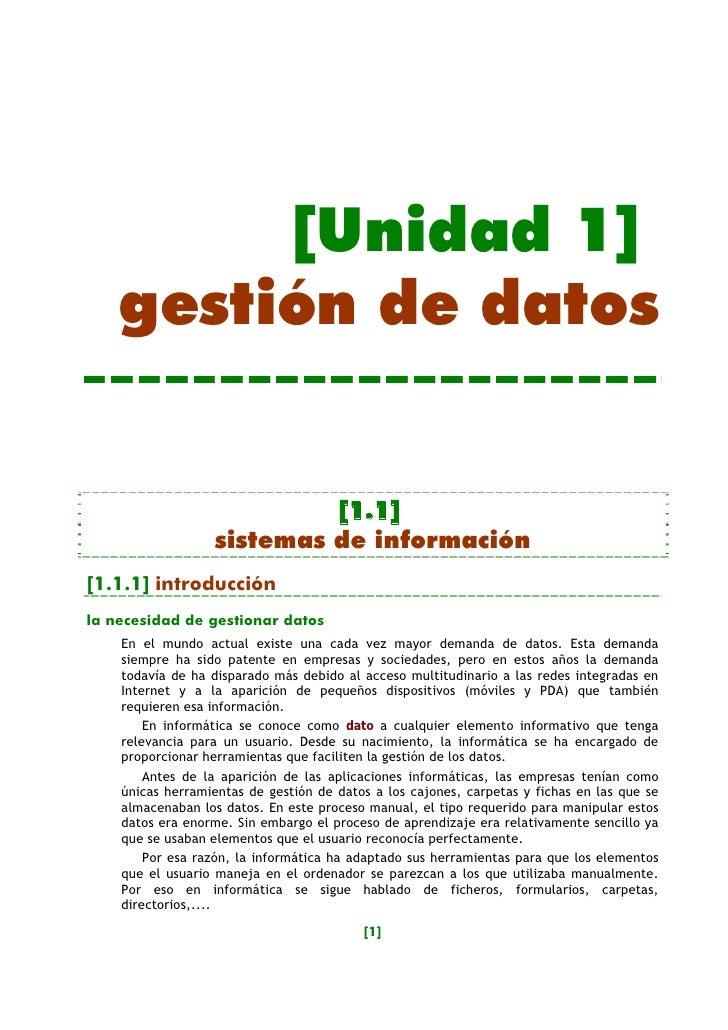 [Unidad 1]     gestión de datos                              [1.1]                   sistemas de información [1.1.1] intro...