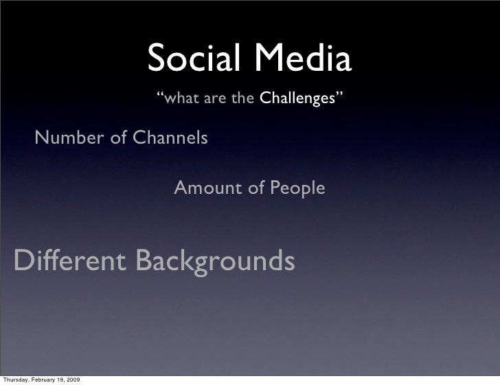 """Social Media                               """"what are the Challenges""""            Number of Channels                        ..."""