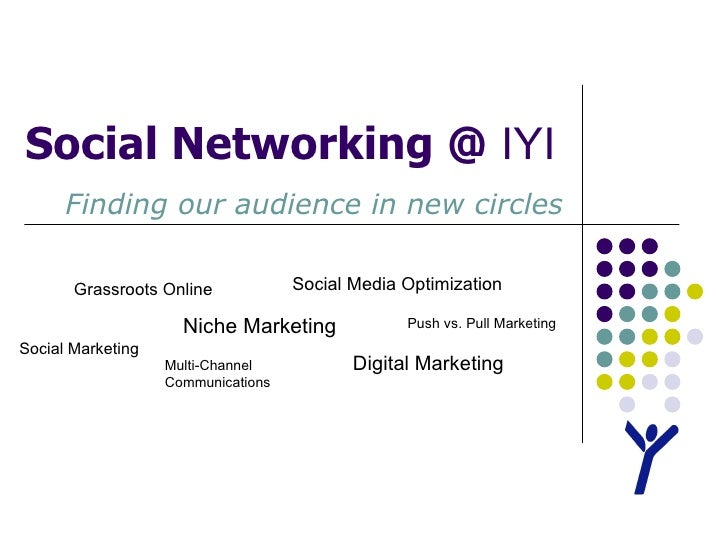 Social Networking @  IYI Finding our audience in new circles Social Marketing Niche Marketing Multi-Channel Communications...