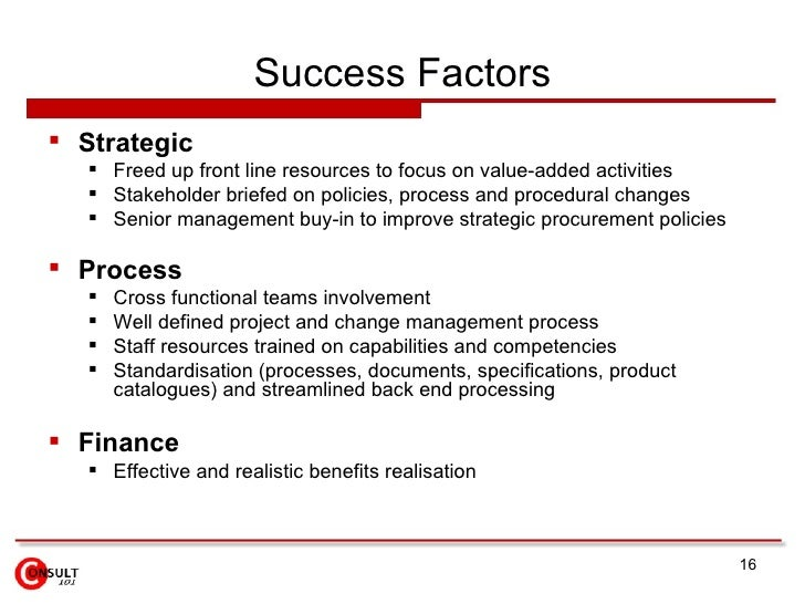 implementing a successful e procurement strategy Critical success factors for e-procurement implementation best practices for successful e-procurement implementation: workforce management strategy.