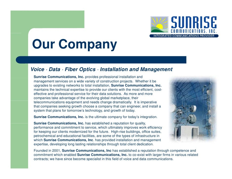Our Company Voice · Data · Fiber Optics · Installation and Management  Su se Communications, Inc. provides professional in...