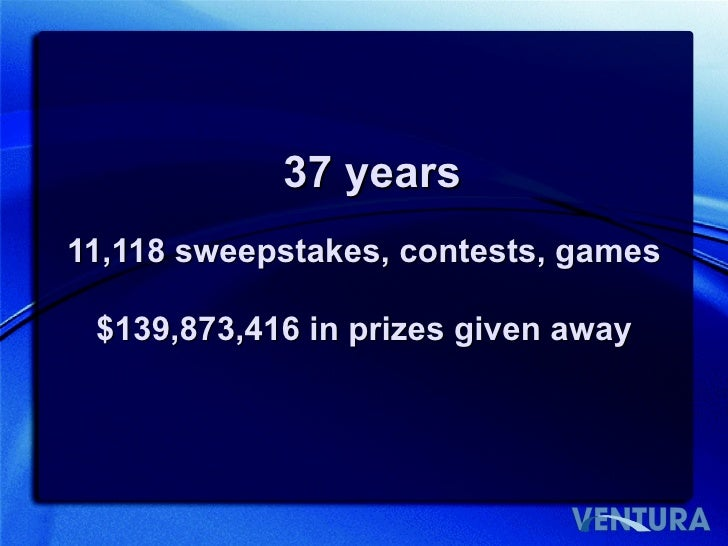 11,118 sweepstakes, contests, games 37 years $139,873,416 in prizes given away