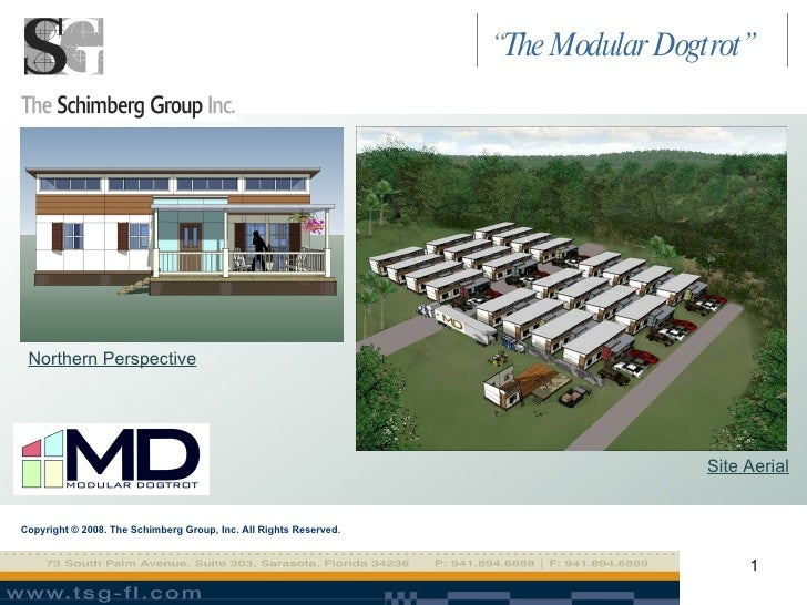 """Copyright © 2008. The Schimberg Group, Inc. All Rights Reserved. Northern Perspective Site Aerial """" The Modular Dogtrot"""""""