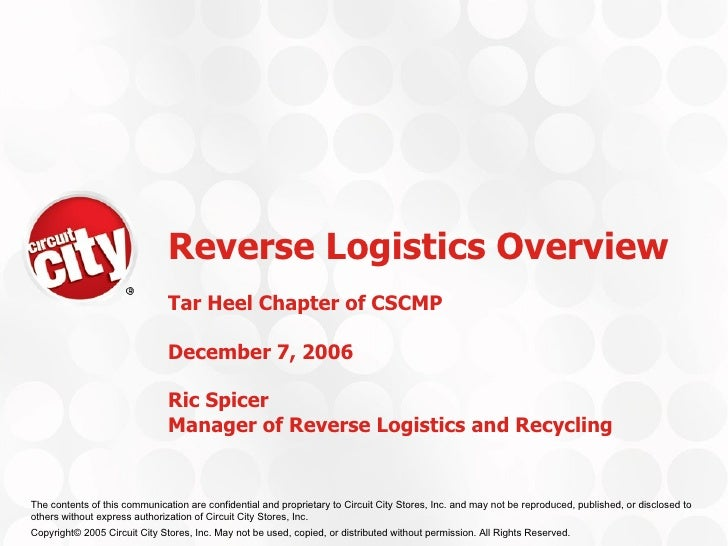 Reverse Logistics Overview Tar Heel Chapter of CSCMP  December 7, 2006 Ric Spicer Manager of Reverse Logistics and Recycling