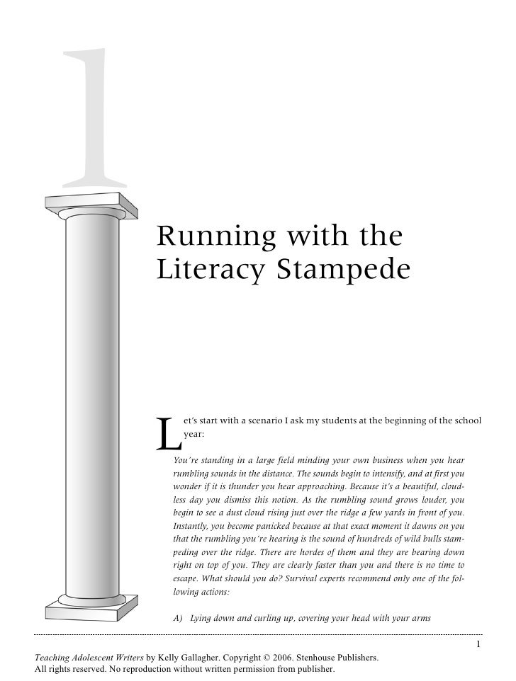 1                             Running with the                               Literacy Stampede                            ...
