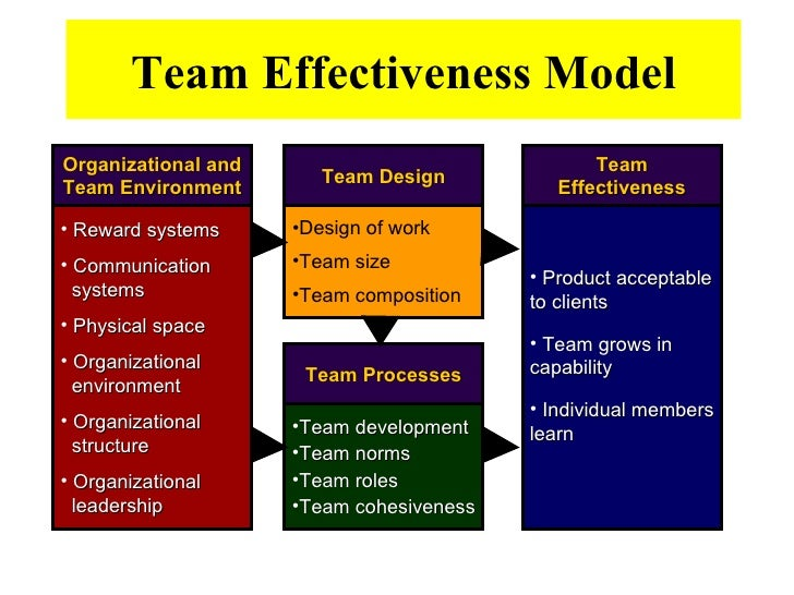 model of team effectiveness essay We argue that leadership processes influence team effectiveness by their effects on four sets of team processes: cognitive, motivational, affective, and coordination we would argue further that a number of environmental, organizational, and team character.