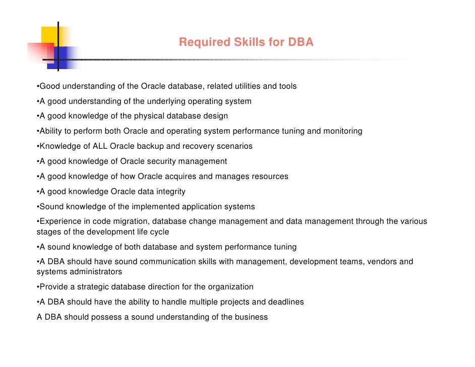 24. Required Skills For DBA U2022Good ...