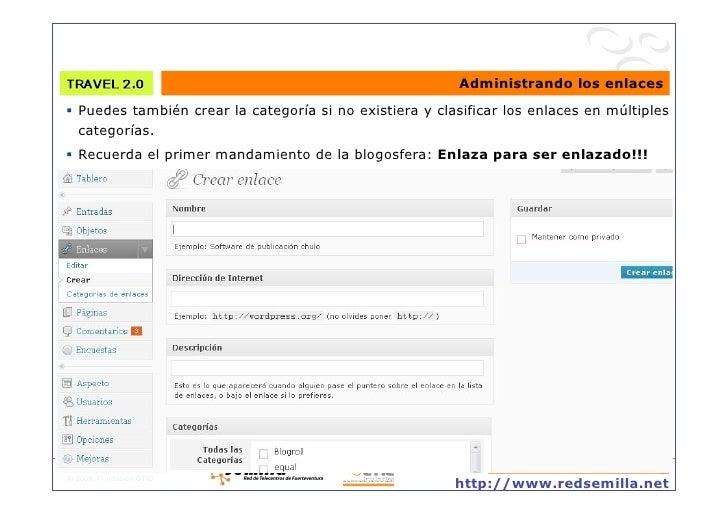 Administrando los enlaces  Puedes también crear la categoría si no existiera y clasificar los enlaces en múltiples    ca...