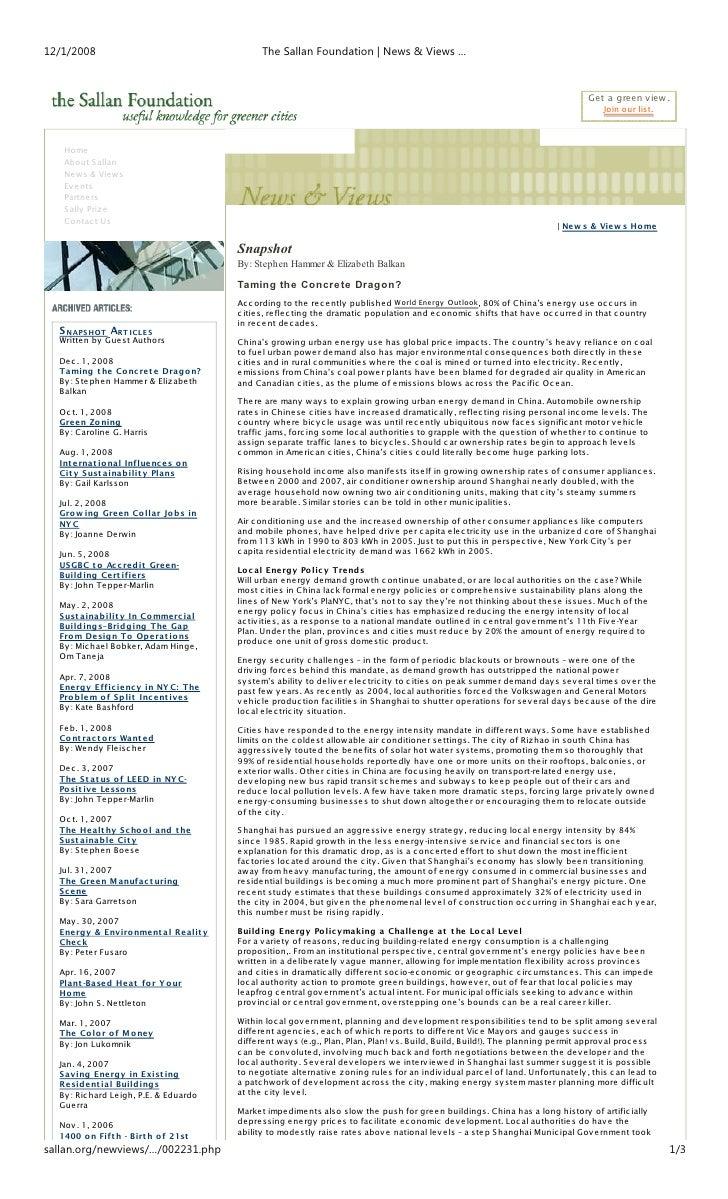 12/1/2008                                     The Sallan Foundation | News & Views …                                      ...