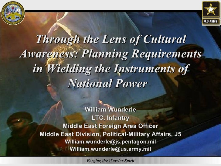 Through the Lens of Cultural Awareness: Planning Requirements in Wielding the Instruments of National Power  William Wunde...