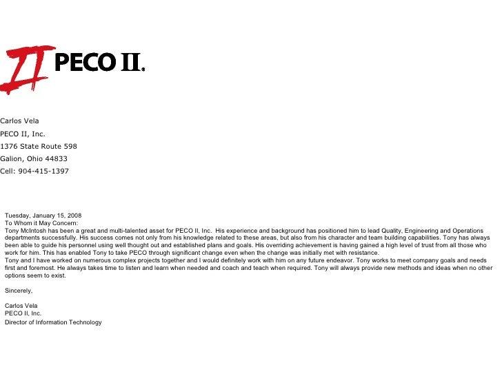 Carlos Vela PECO II Inc 1376 State Route 598 Galion Ohio 44833 Cell