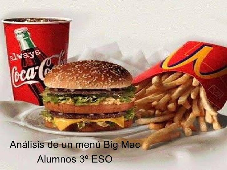 Análisis de un menú Big Mac Alumnos 3º ESO