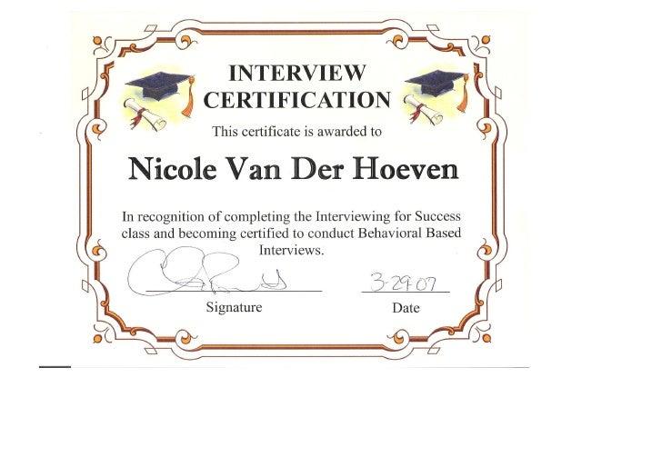 Training Program Certificates