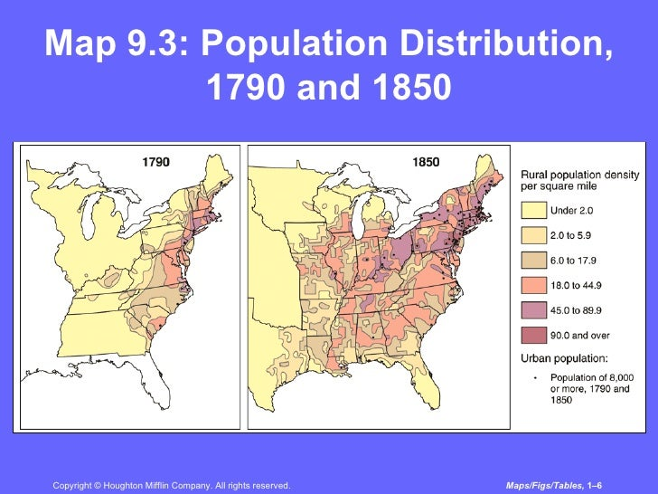 Transformation Of American Society From - Us population density map 1790