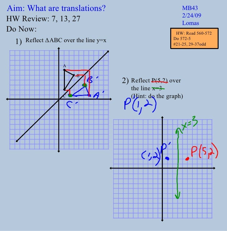 Aim: What are translations? MB43 2/24/09 Lomas Do Now: Reflect  Δ ABC over the line y=x Reflect P(5,2) over  the line x=3 ...