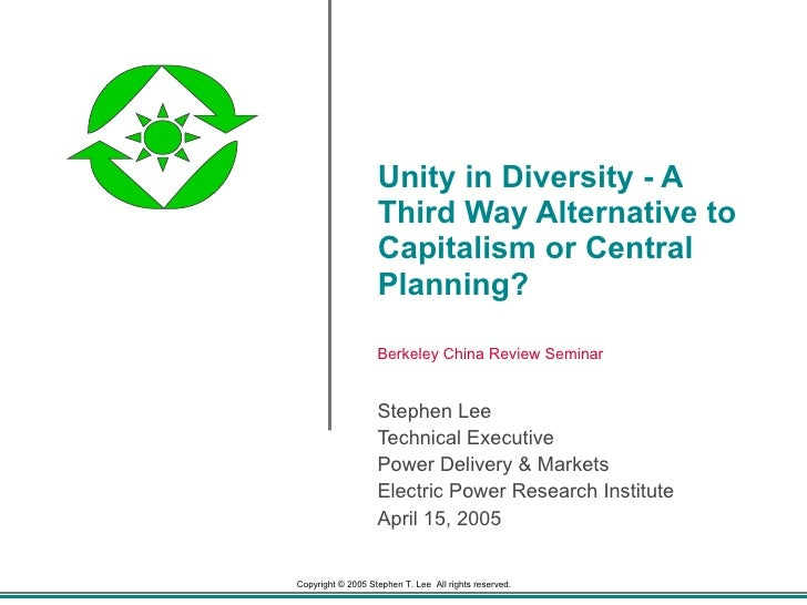 Unity in Diversity - A Third Way Alternative to Capitalism or Central Planning? Stephen Lee Technical Executive Power Deli...