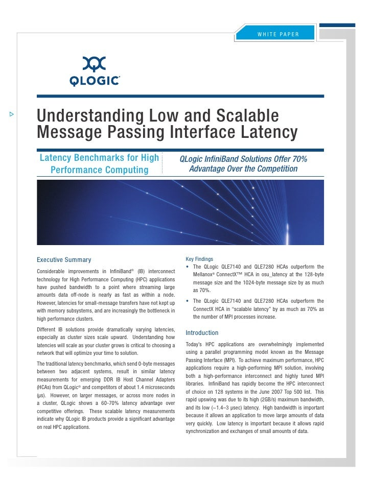 WHITE PaPEr     Understanding Low and Scalable Message Passing Interface Latency  Latency Benchmarks for High             ...