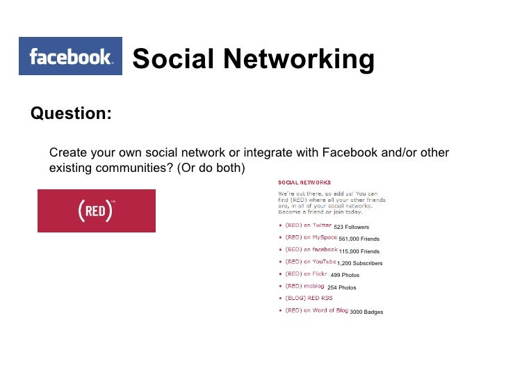 Social Networking <ul><li>Question: </li></ul><ul><li>Create your own social network or integrate with Facebook and/or oth...
