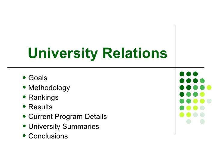 University Relations <ul><li>Goals </li></ul><ul><li>Methodology </li></ul><ul><li>Rankings </li></ul><ul><li>Results </li...