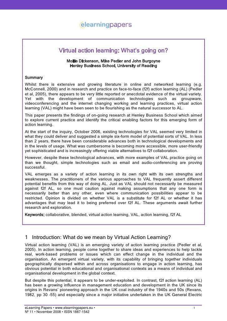 Virtual action learning: What's going on?                          Mollie Dickenson, Mike Pedler and John Burgoyne        ...