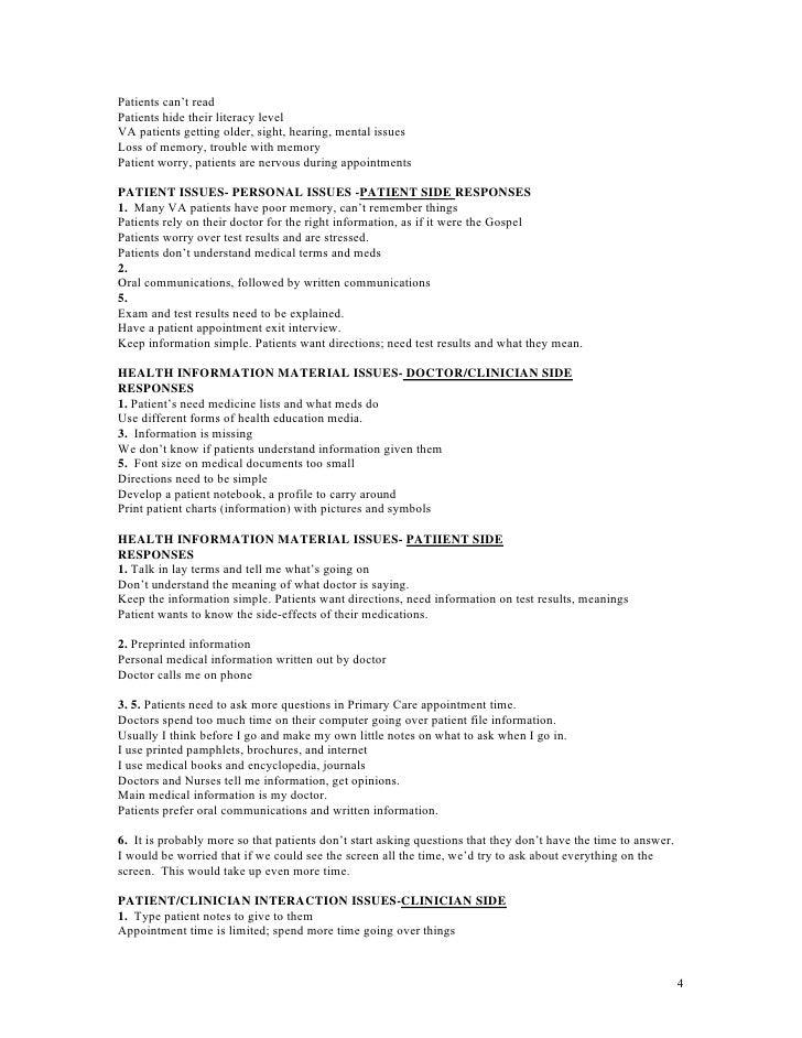 Va Medical Health Literacy Study 2007